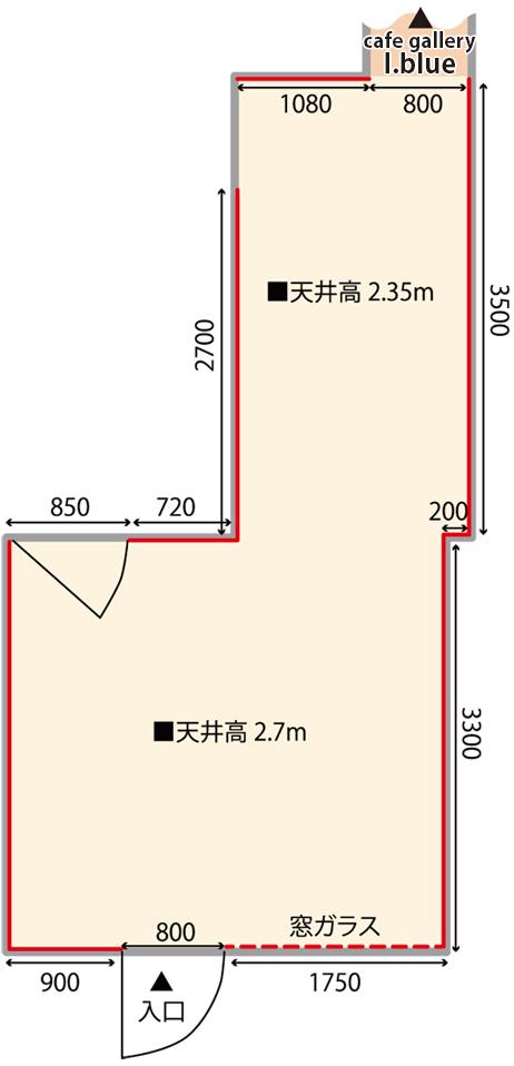 ギャラリーそら cafe gallery I.blue 大阪 見取り図